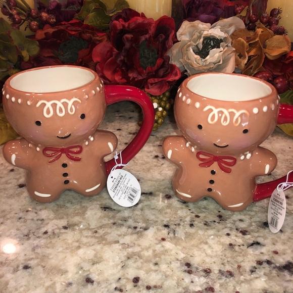 Stoneware Gingerbread Man Mug 11 oz. Set of two